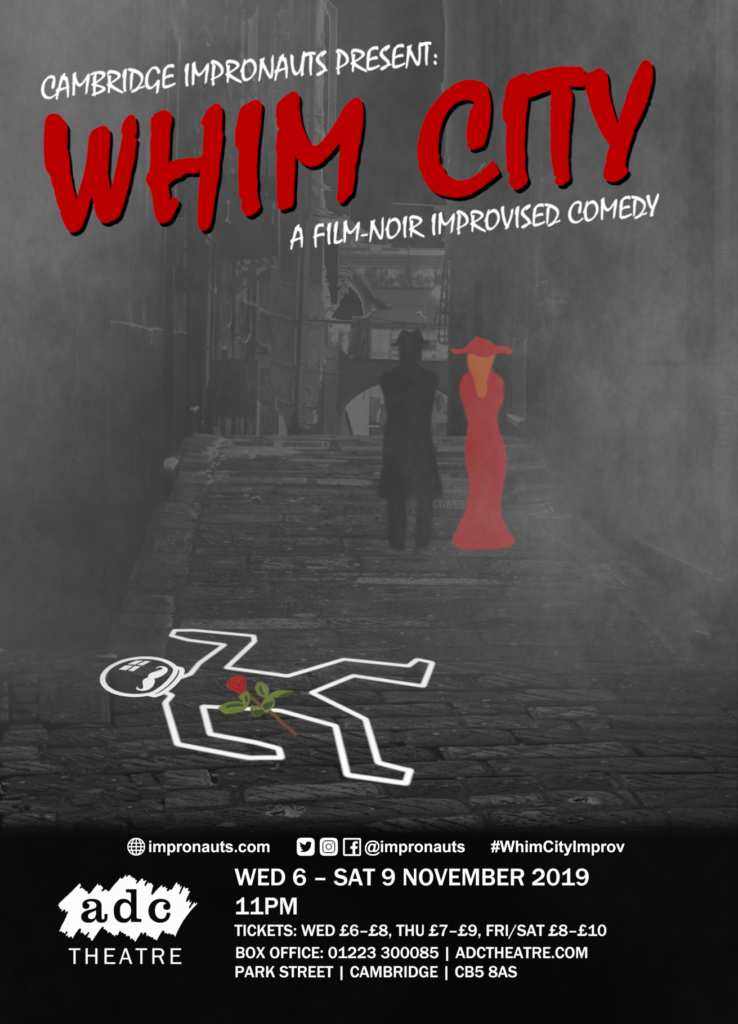 Whim City Poster. A foggy street, two figures walk away from a chalk outline of an Impronauts body with a single rose lain over it.