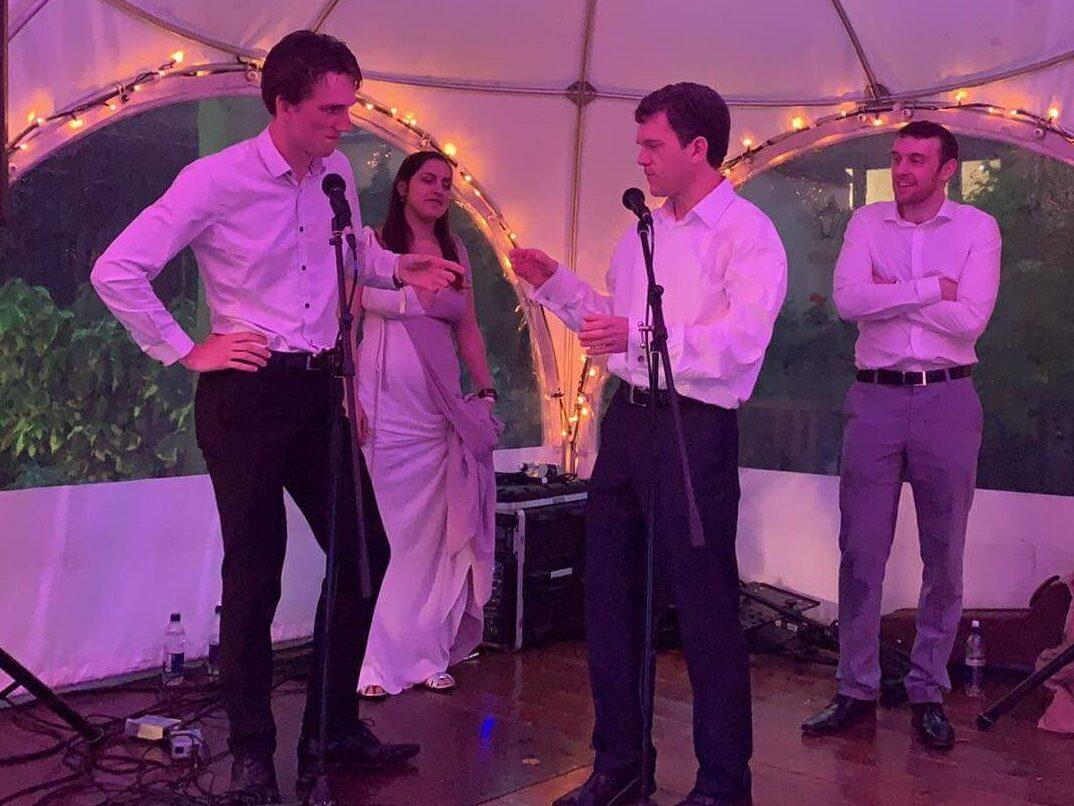 4 Improvisers performing at a May Ball