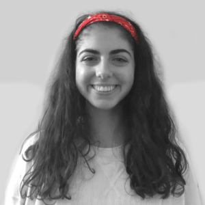 Tally Levy, Black and White with Red headband