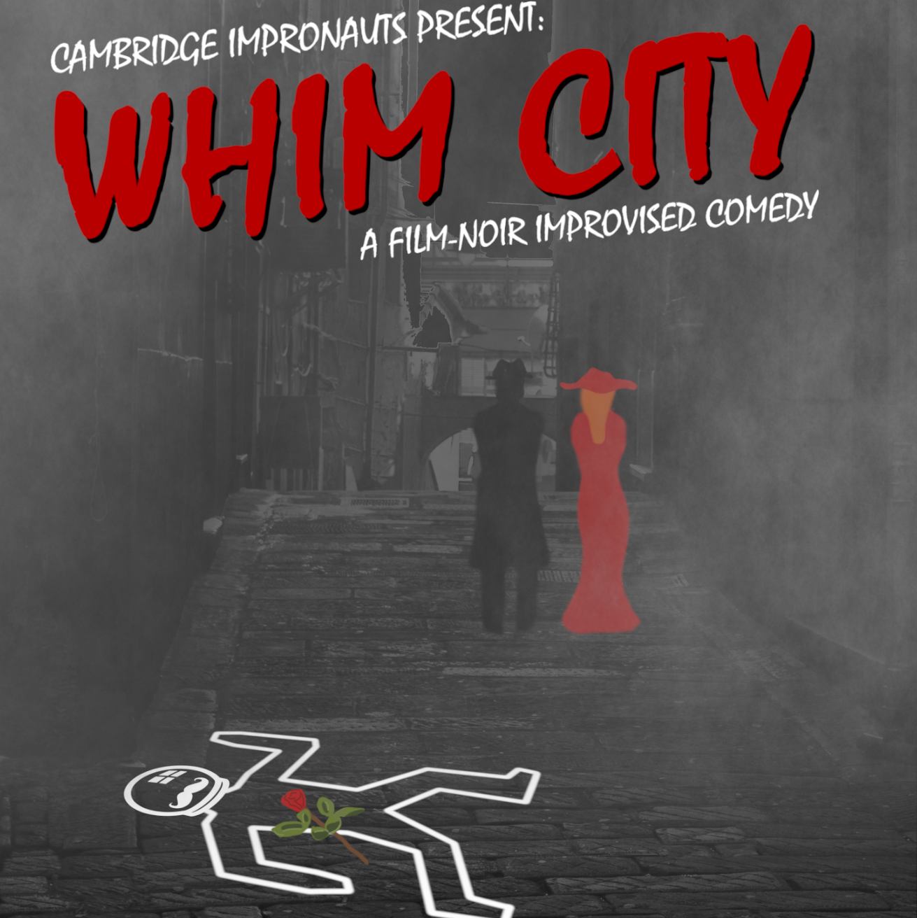 Whim City poster showing a foggy street, a police body outline and a couple walking away