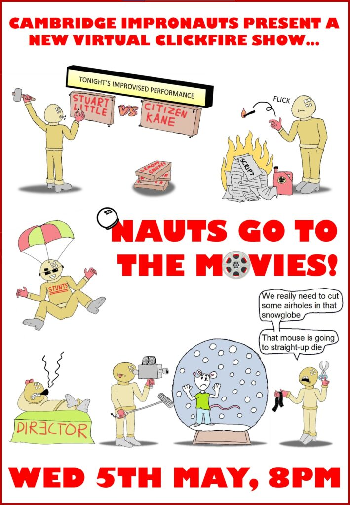 Nauts Go To The Movies poster. Various astronaut characters depicted doing things from movies, such as stunts and directing.
